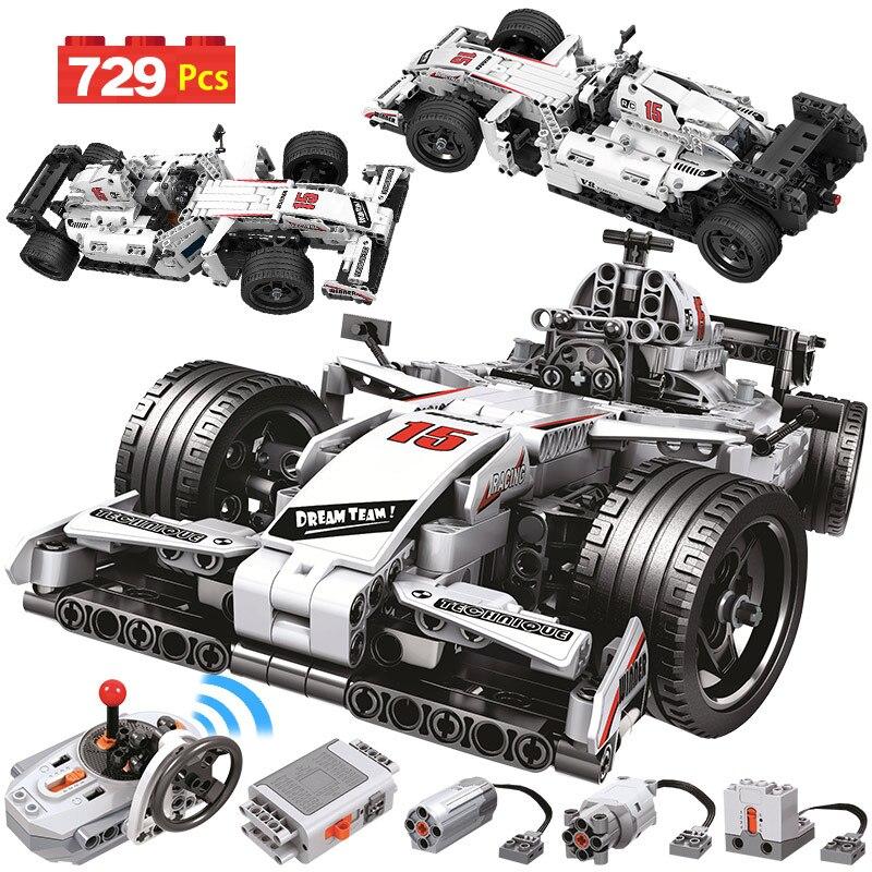 729PCS City Remote Control Car Building Blocks Technic RC F1 Racing Car Electric Bricks Enlightenment Toy For Children
